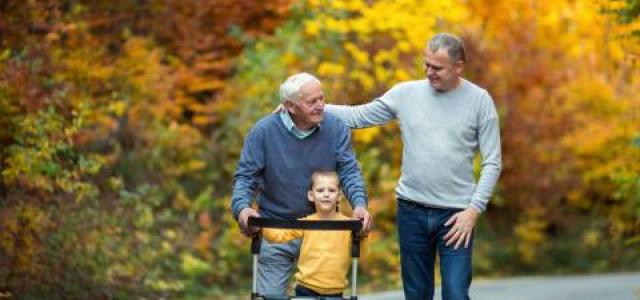iStock-880854388 elderly father, son and grandson on walk